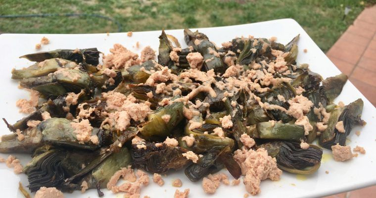 Alcachofas fritas con foie micuit «para quitar er sentío»