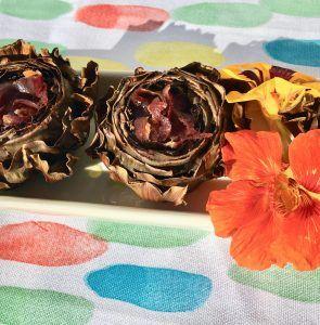 alcachofas con jamon flores
