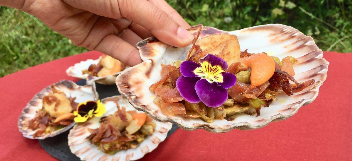 Vieira con alcachofa y jamón crujiente (para conquistar)