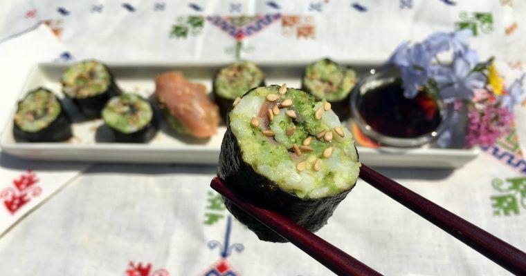 Maki y nigiri sushi sin arroz I (con «no-arroz» de coliflor)