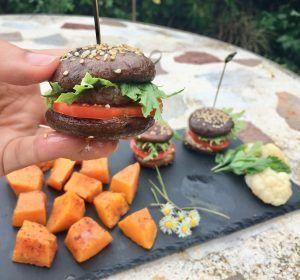 hamburguesa sin pan con setas