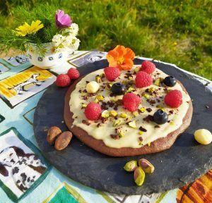 pizza de chocolate sin gluten keto paleo low carb sin azucar crema de macadamias