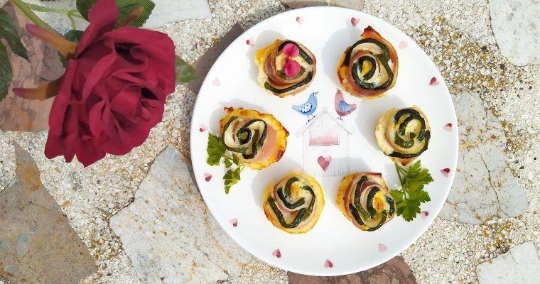 Rosas de calabacín y bacon (mi estrategia anti-chascos)