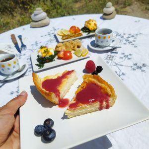 brunch keto low carb sin gluten new york style cheesecake pastel de queso con mermelada sin azucar