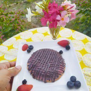 bizcocho sin gluten paleo low carb sin azucar con gelatina de fresa y chocolate casi galleta pims
