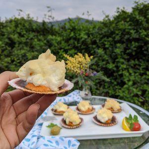 zamburiñas con salsa de coral al horno bajo la nube paleo keto low carb